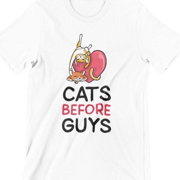 Cats Before Guys Printed T Shirt