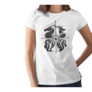 Two Dragon Printed T Shirt  Women