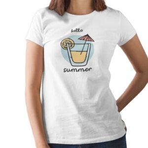 Hello Summer Printed T Shirt  Women